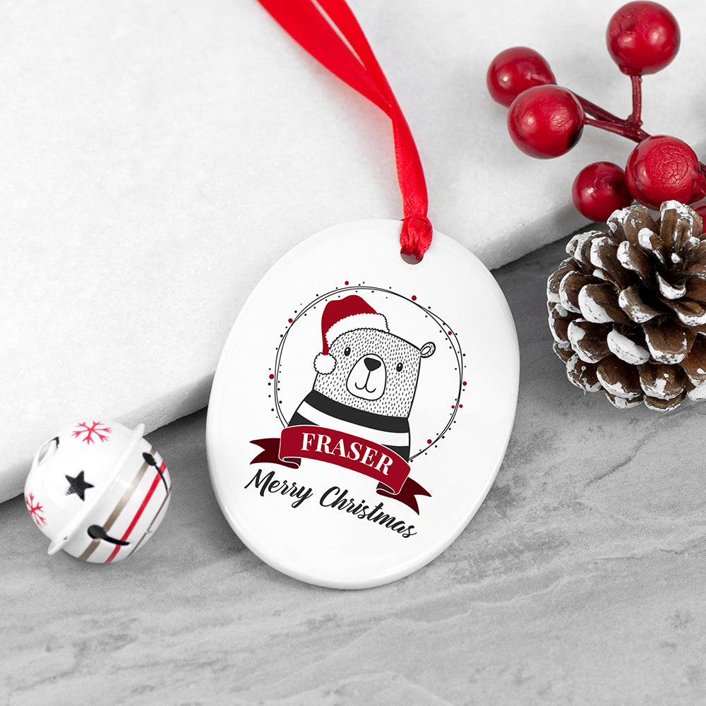 Personalised Christmas Polar Bear Ceramic Tree Decoration