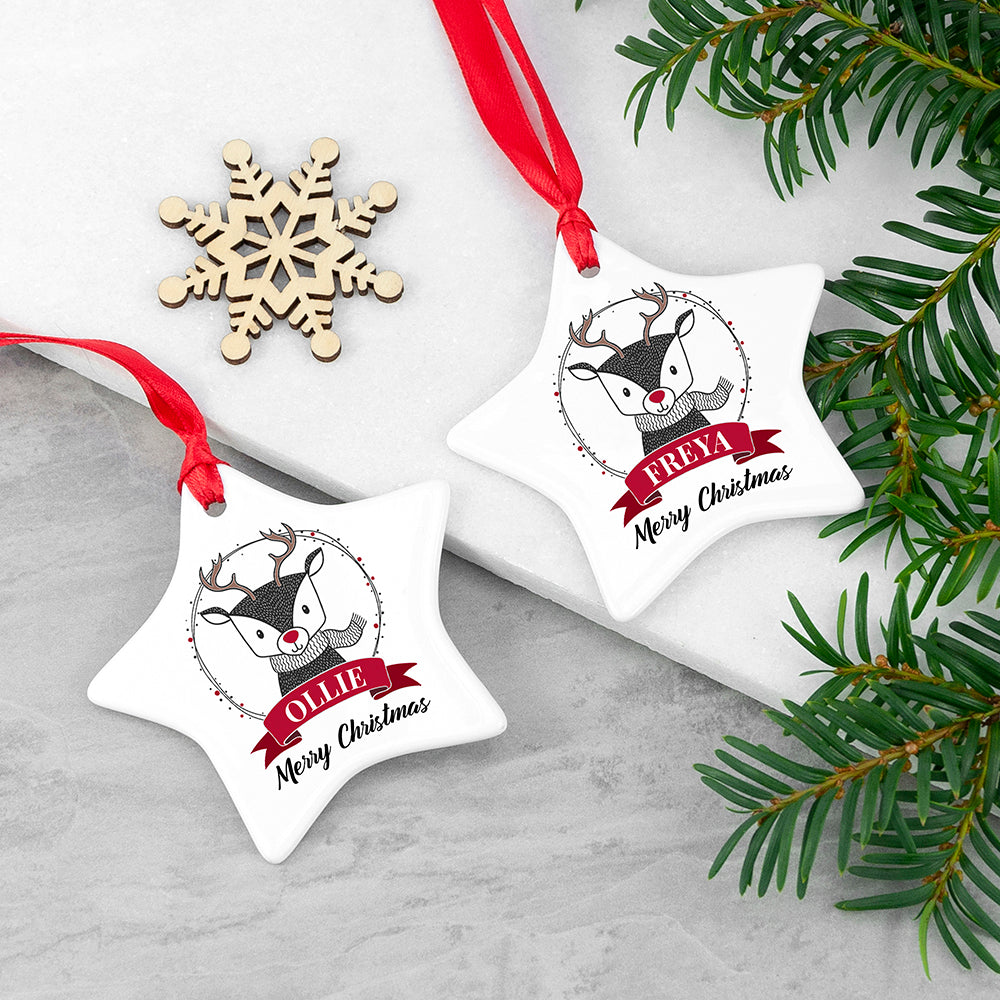 Personalised Reindeer Star Christmas Decoration