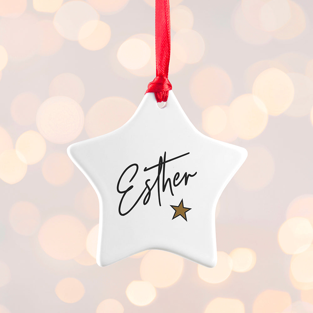 Personalised Christmas Star Decoration