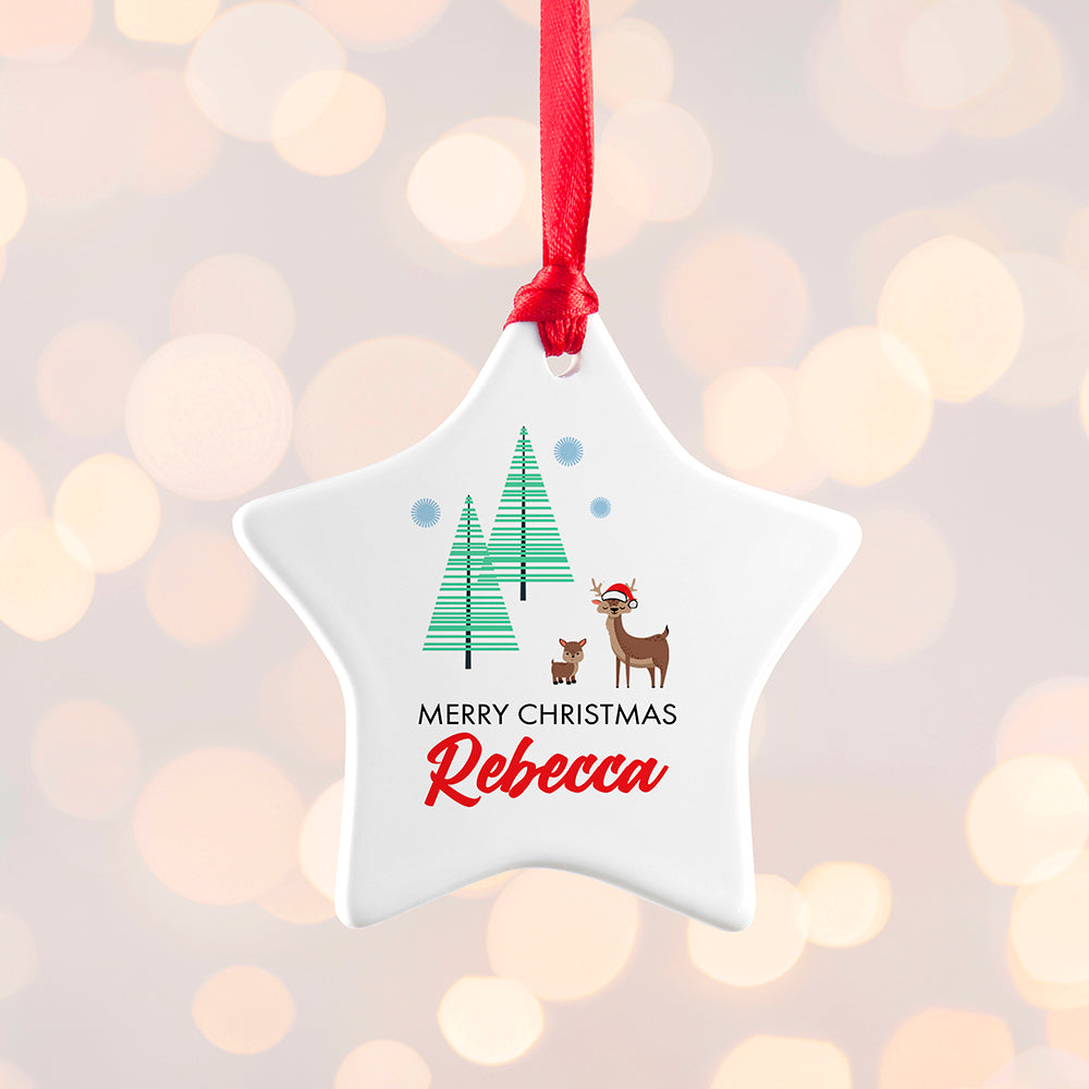 Personalised Christmas Deer Decoration
