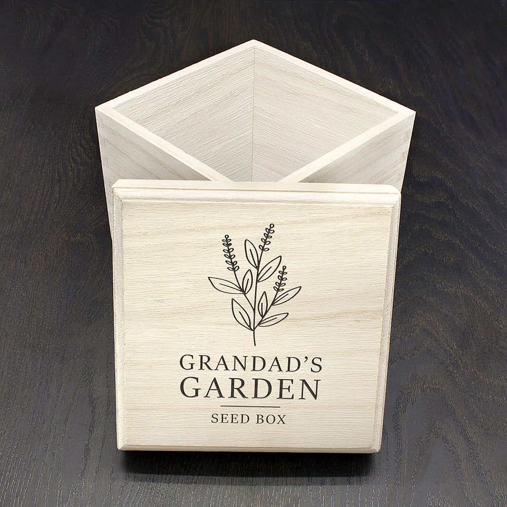 Personalised Gardener's Wooden Seed Box - Stylish Floral
