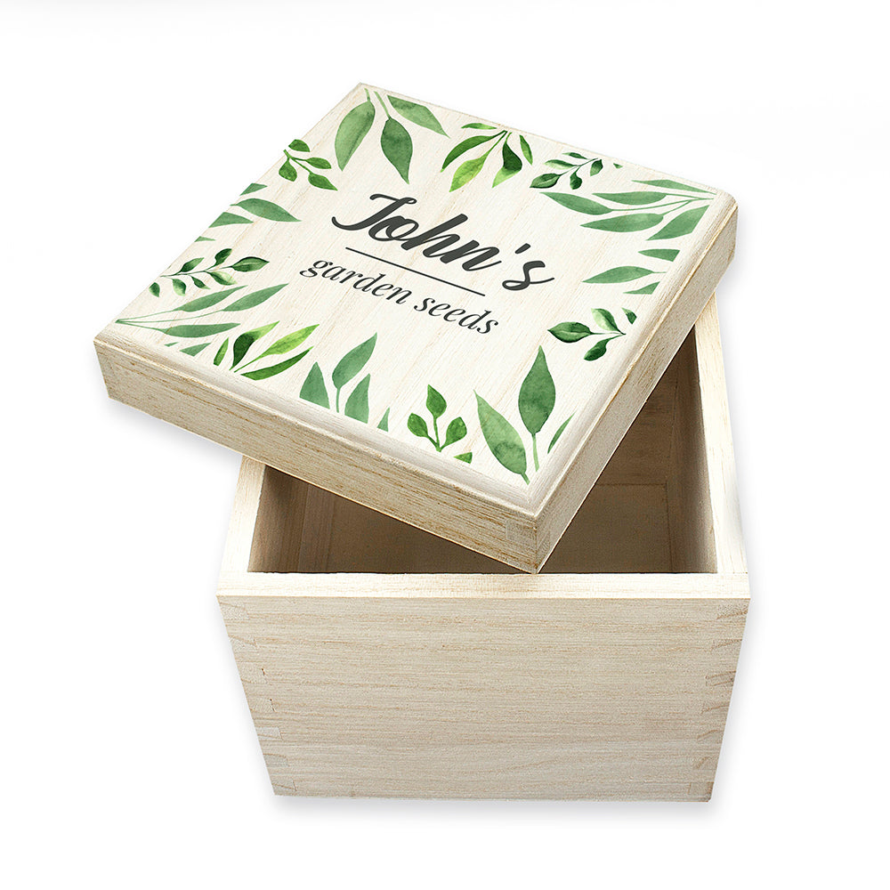 Personalised Gardener's Wooden Seed Box - Botanicals