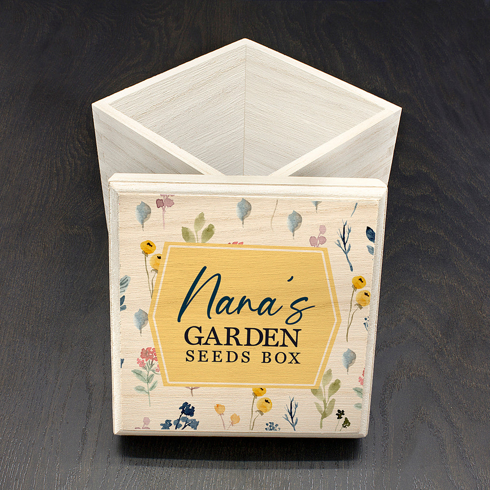 Personalised Gardener's Wooden Seeds Box - Bright Florals