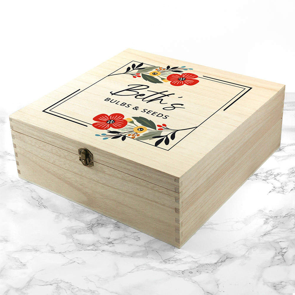 Personalised Floral Frame Gardener's Accessories Box