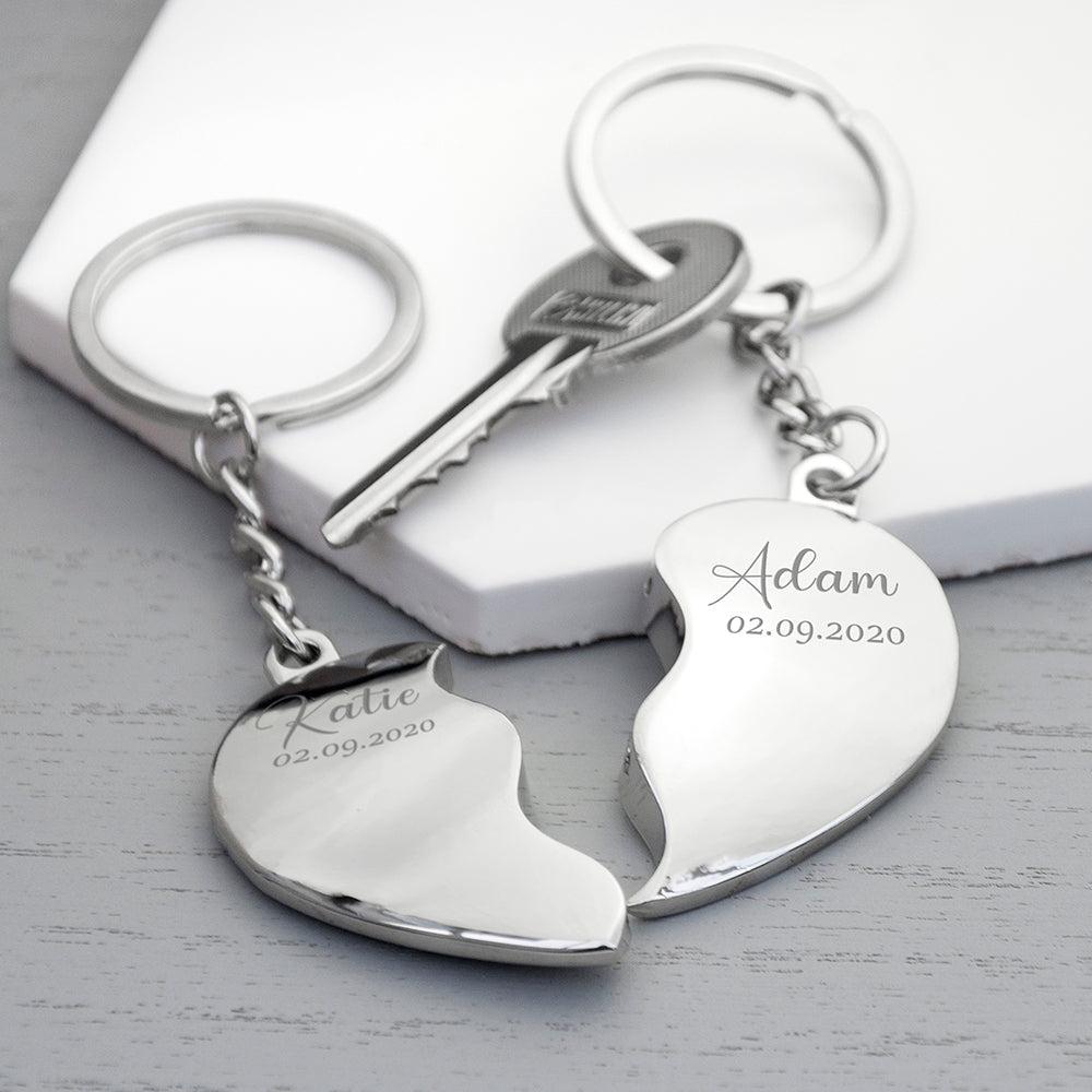 Personalised Special Date Heart Keyring Set