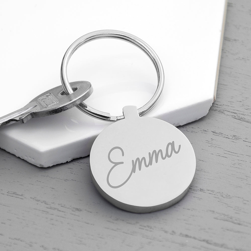 Personalised Engraved Name Round Metal Keyring