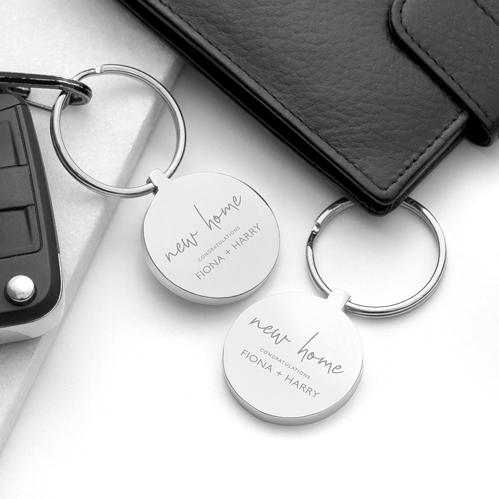 Personalised New Home Round Metal Keyring