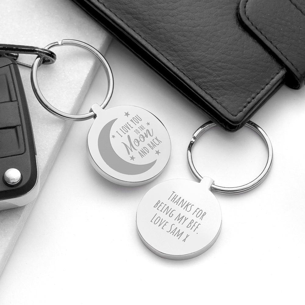 Personalised Moon and Back Keyring