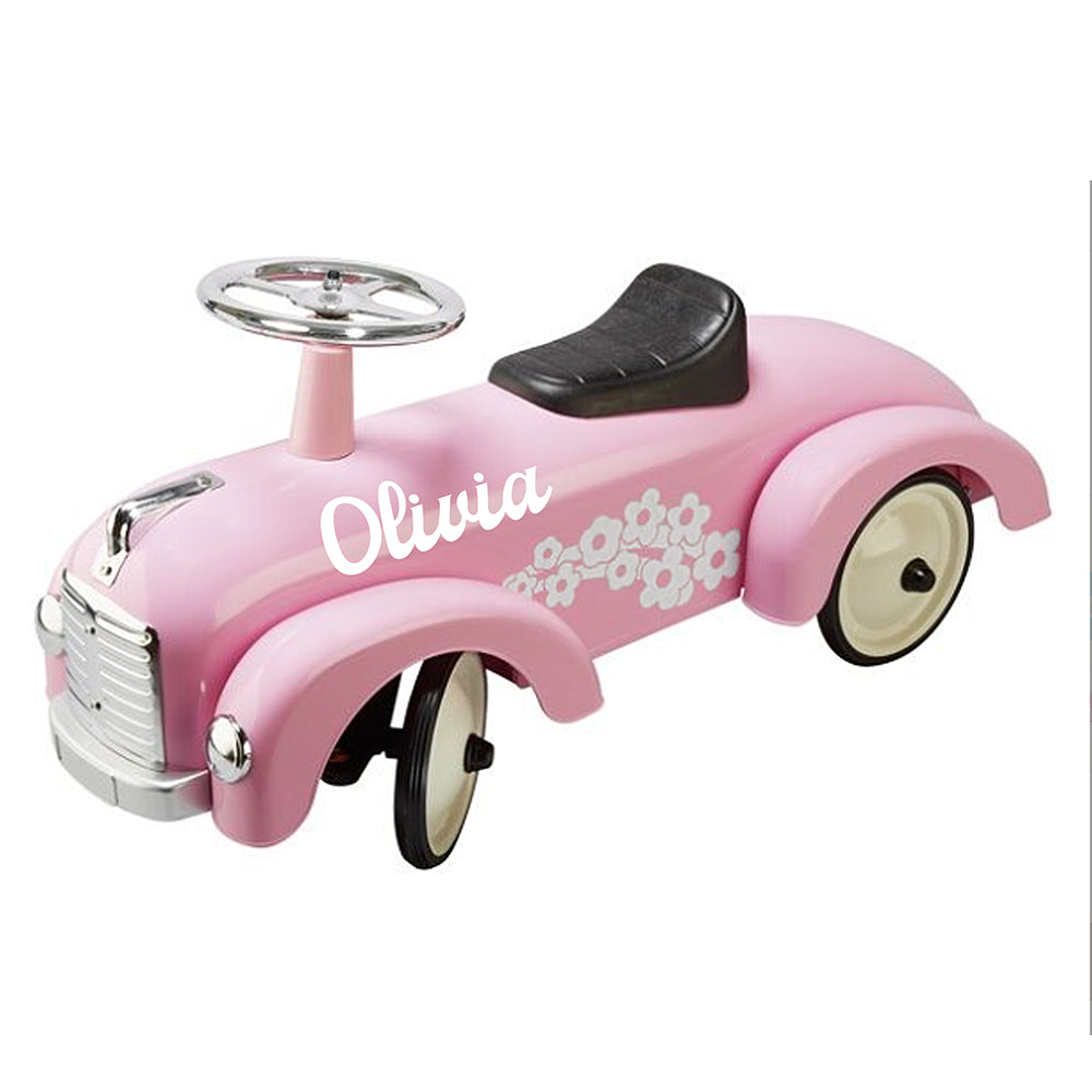 Personalised Light Pink Vintage Style Ride On Car for Kids