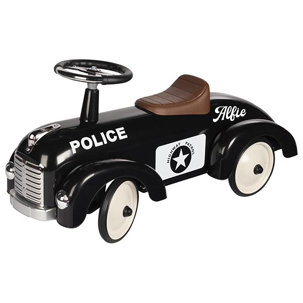 Personalised Police Vintage Style Ride On Car for Kids