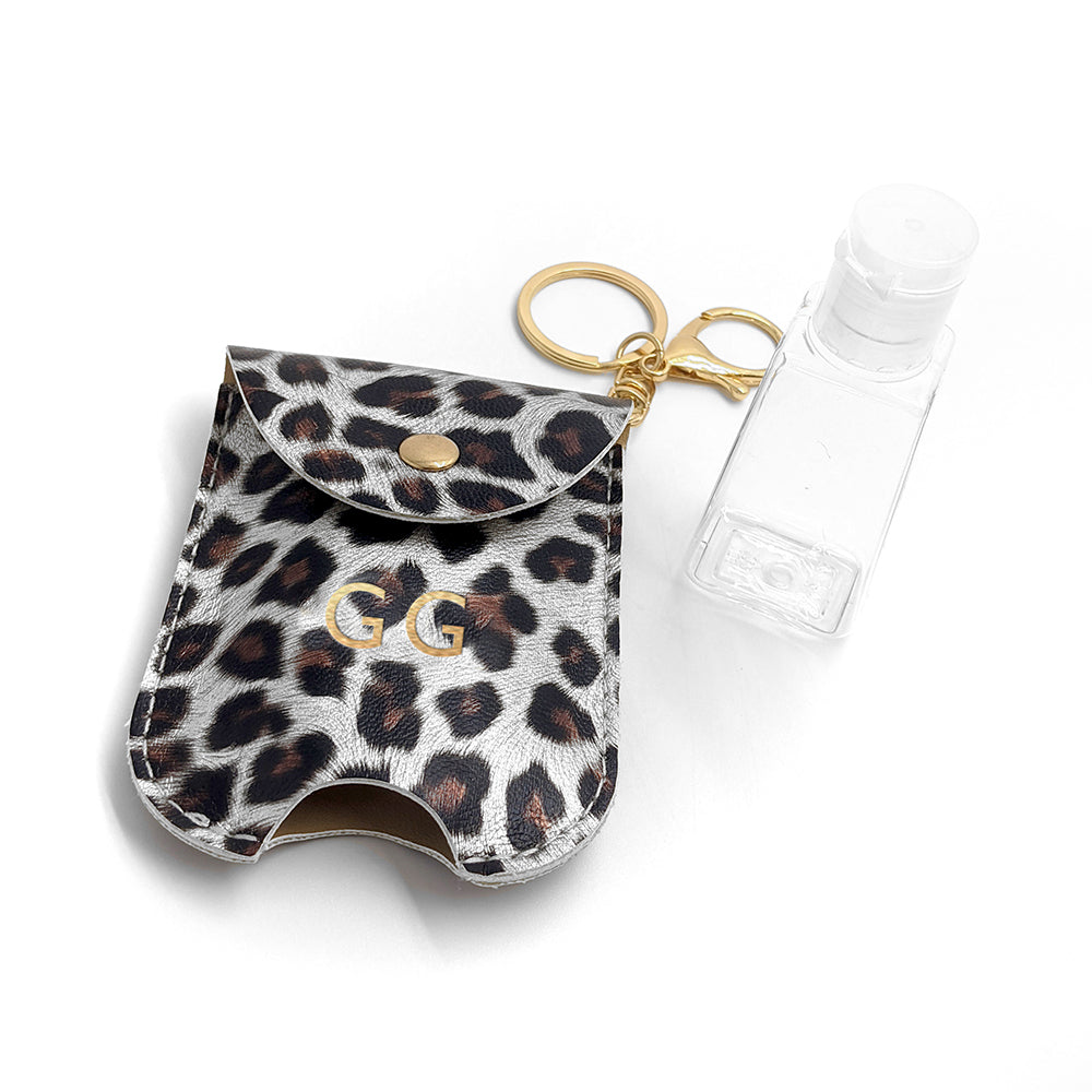 Personalised Animal Print Hand Sanitiser Holder Keyring