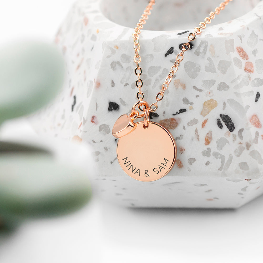 Personalised Polished Heart and Disc Necklace