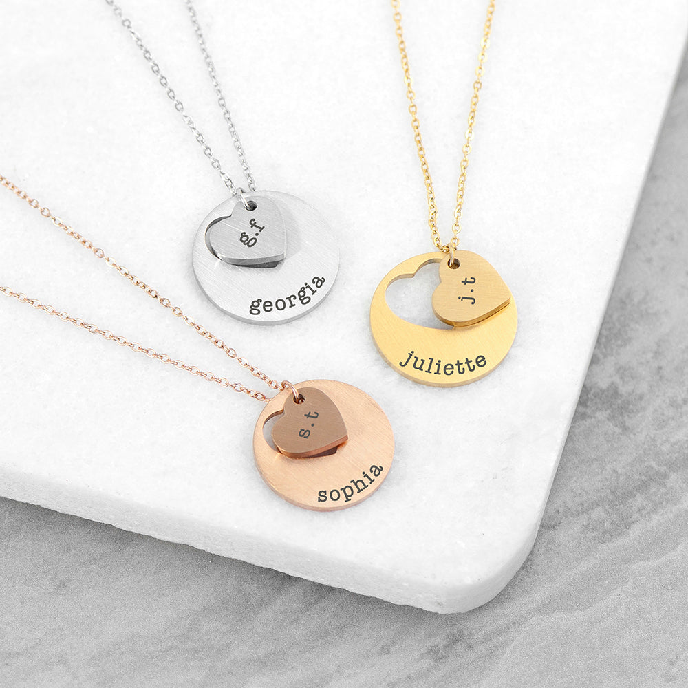 Personalised Cut Out Heart and Disc Necklace