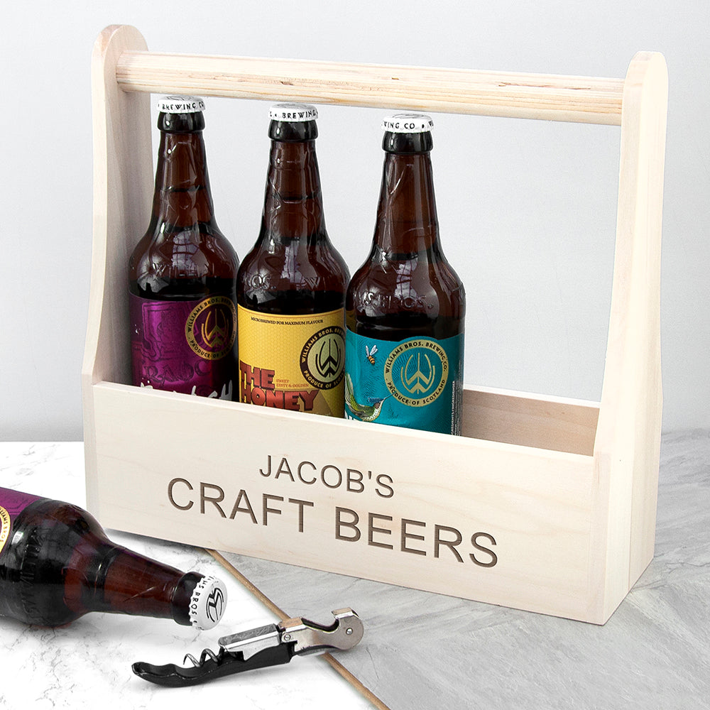 Personalised Wooden Bottle Caddy