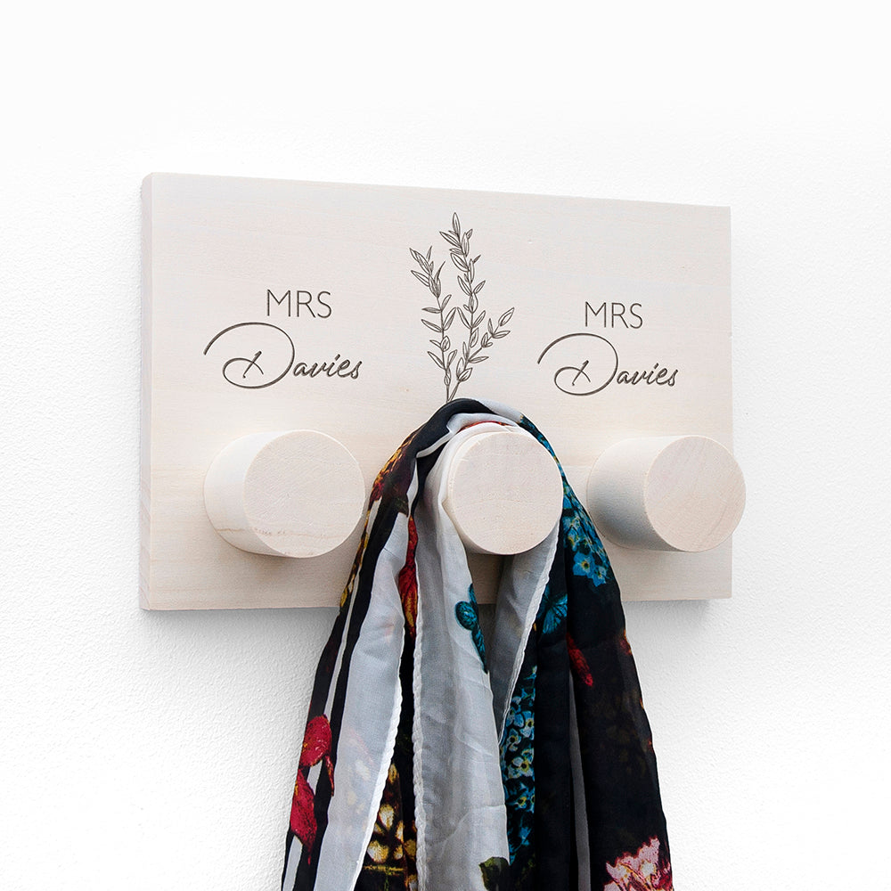 Personalised Couples Wooden Coat Rack