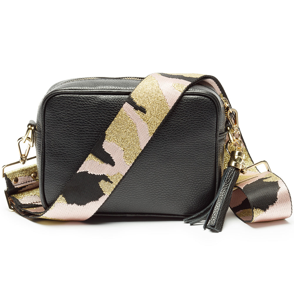 Personalised Elie Beaumont Cross Body Black Leather Bag with Choice of Strap