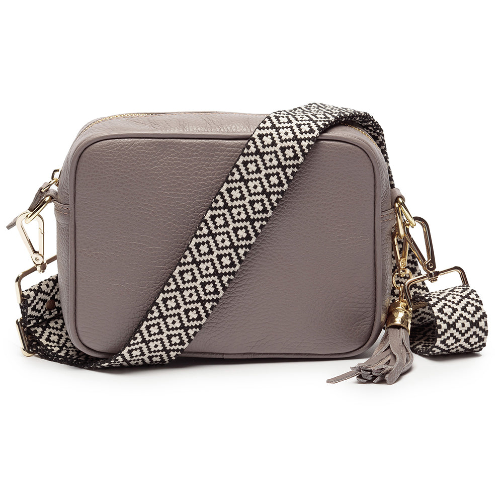 Personalised Elie Beaumont Cross Body Grey Leather Bag with Choice of Strap