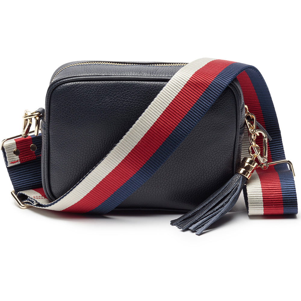 Personalised Elie Beaumont Cross Body Navy Leather Bag with Choice of Strap