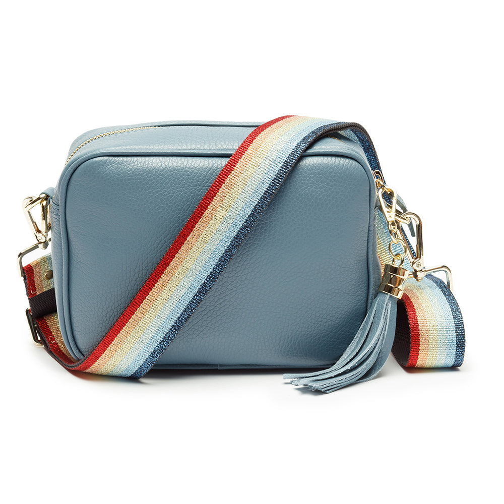 Personalised Elie Beaumont Cross Body Light Blue Leather Bag with Choice of Strap