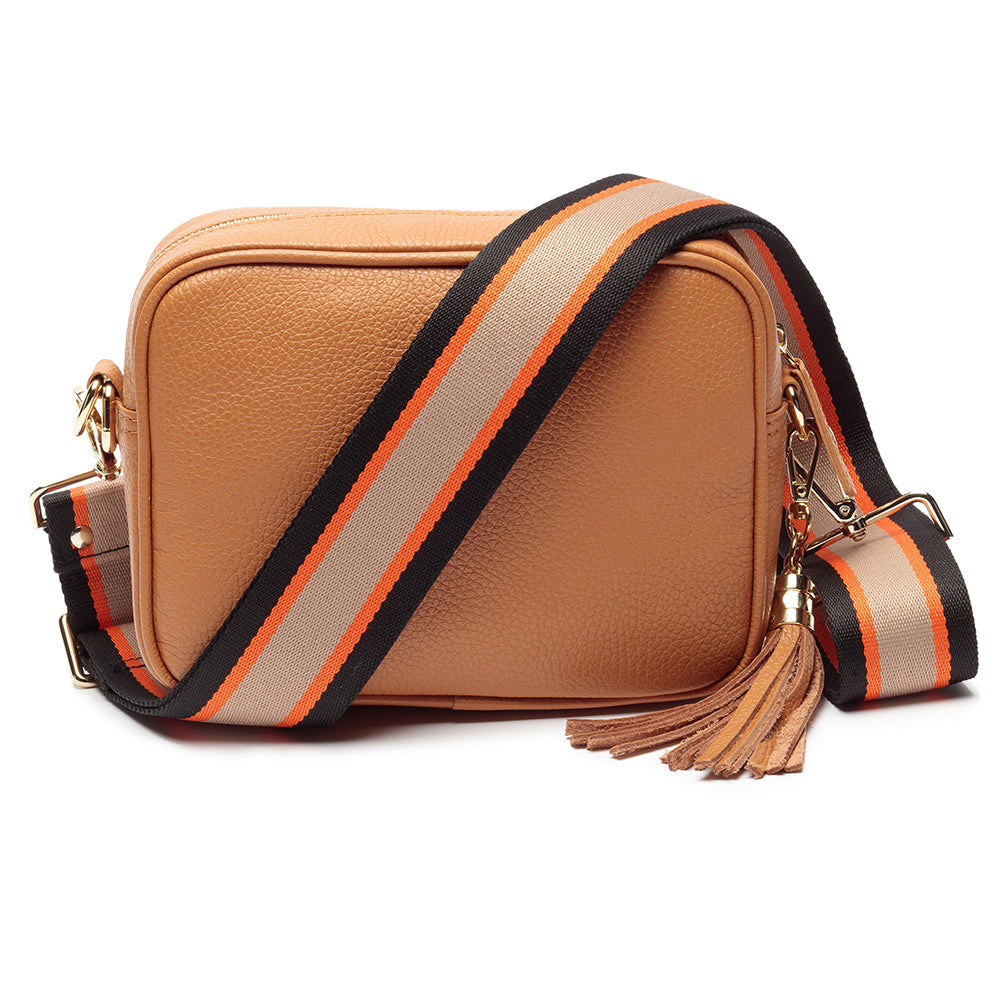 Personalised Elie Beaumont Cross Body Tan Leather Bag with Choice of Strap