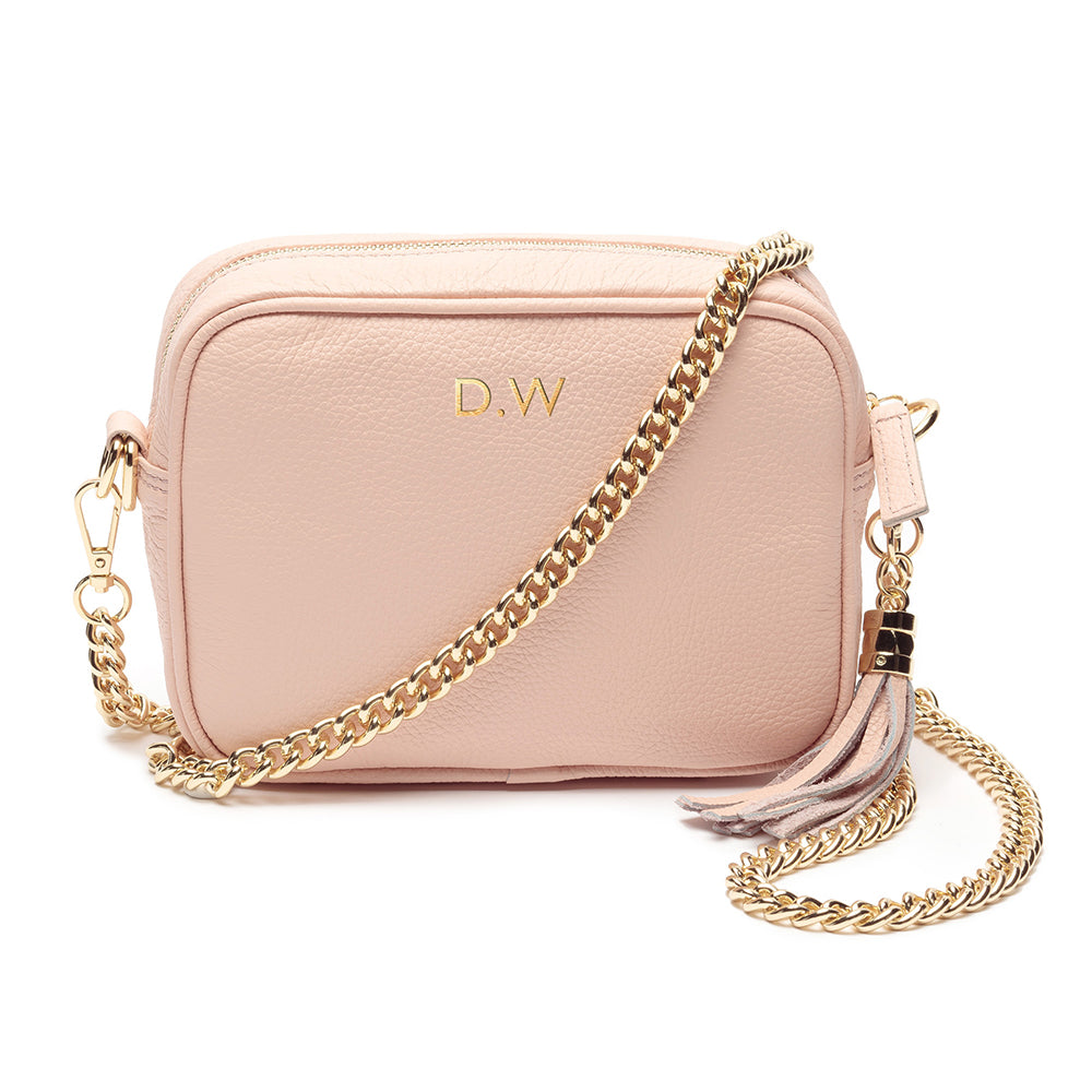 Personalised Elie Beaumont Cross Body Pink Leather Bag with Choice of Strap