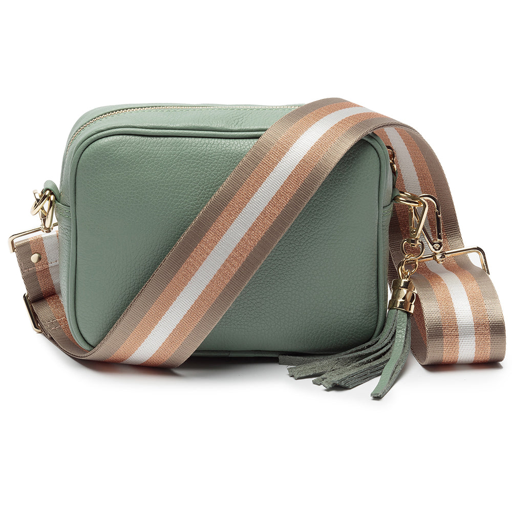 Personalised Elie Beaumont Cross Body Mint Leather Bag with Choice of Strap