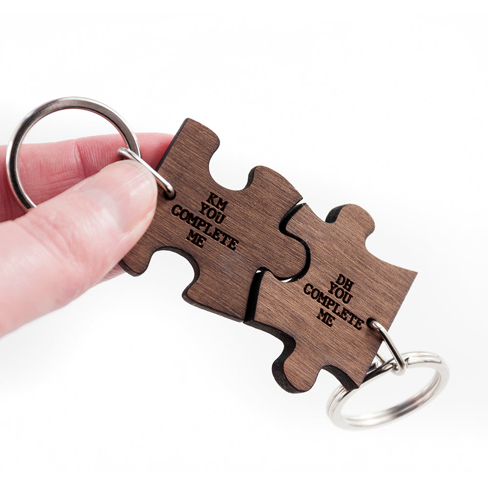Couples You Complete Me Jigsaw Keyrings Set of Two