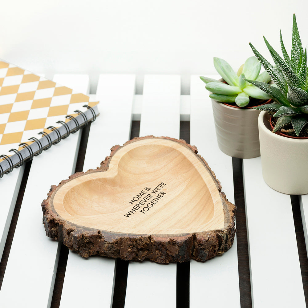 Personalised Rustic Carved Wooden Heart Trinket Dish