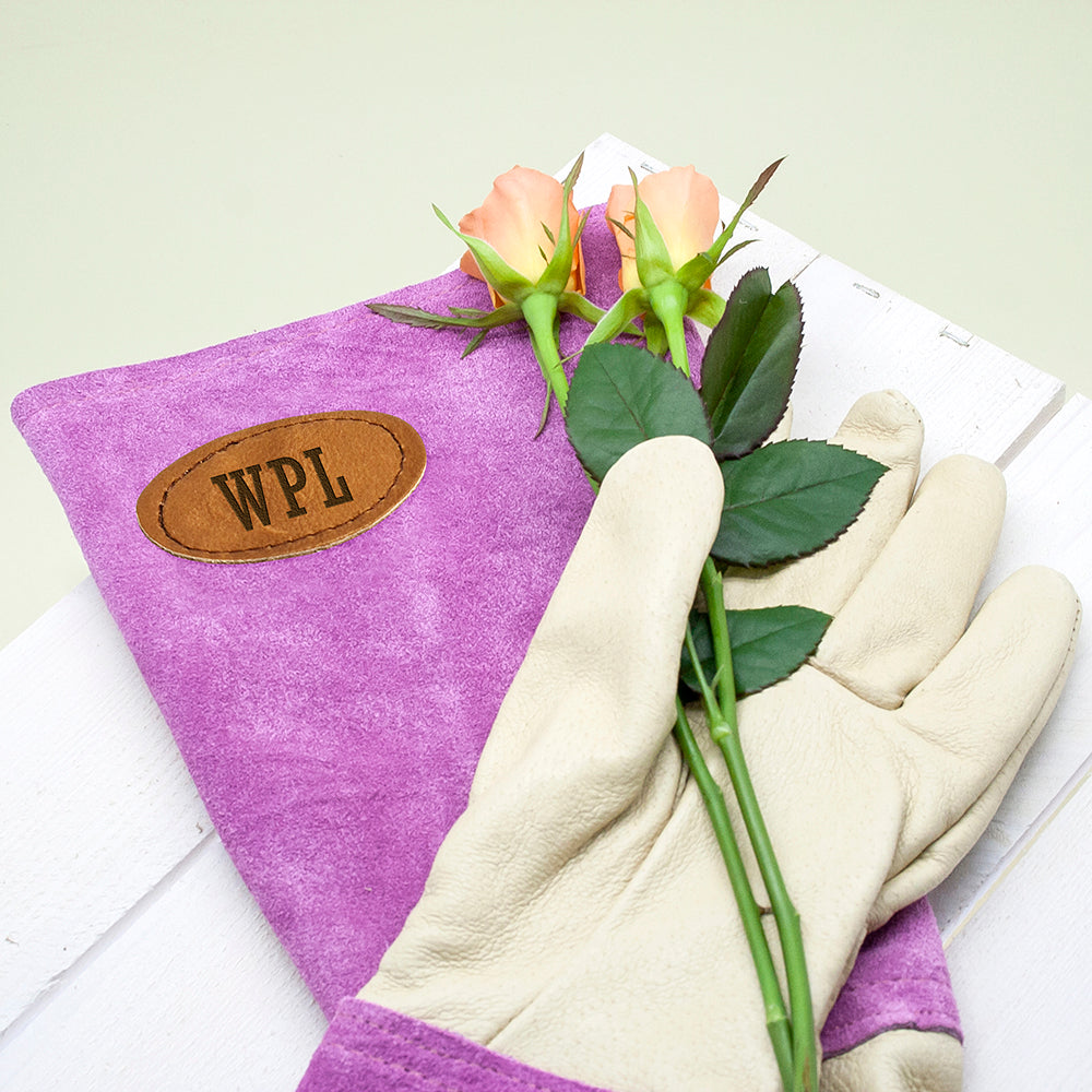Personalised Pink Leather Gardening Gloves