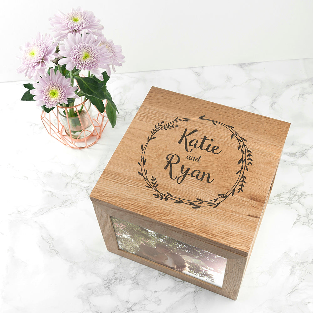 Personalised Couple's Oak Photo Keepsake Box With Wreath Design