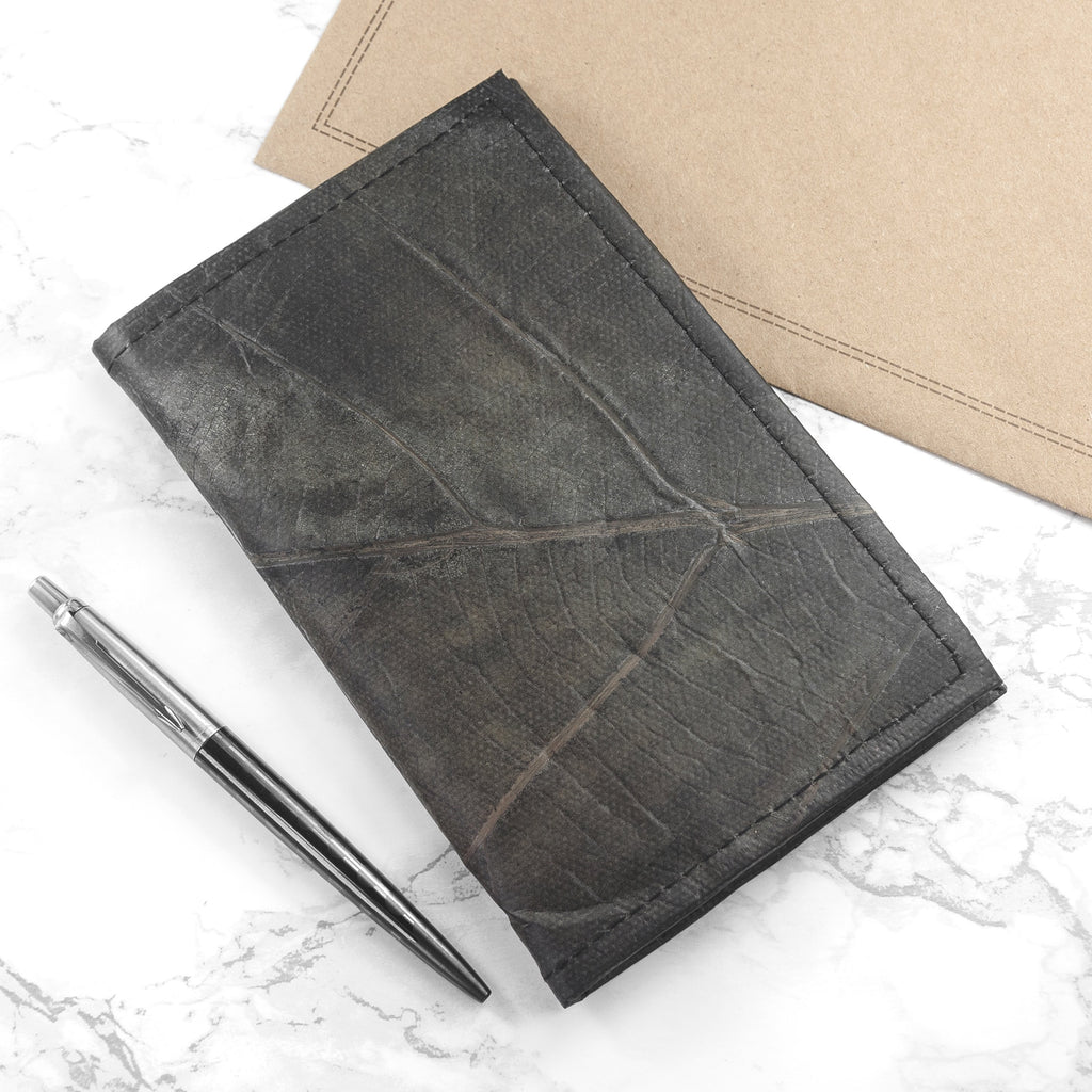 A6 Refillable Leaf Leather Journal - Pebble Black