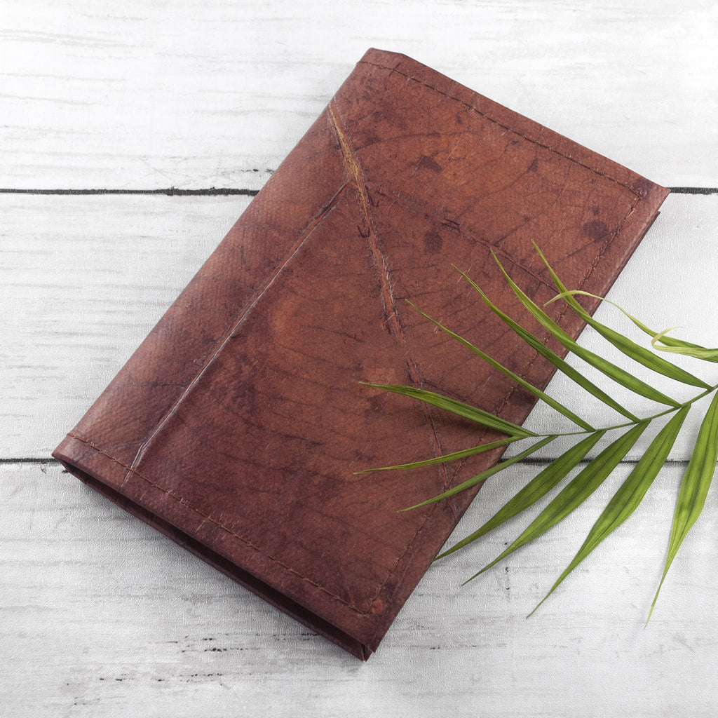 A6 Refillable Leaf Leather Journal - Chestnut Brown