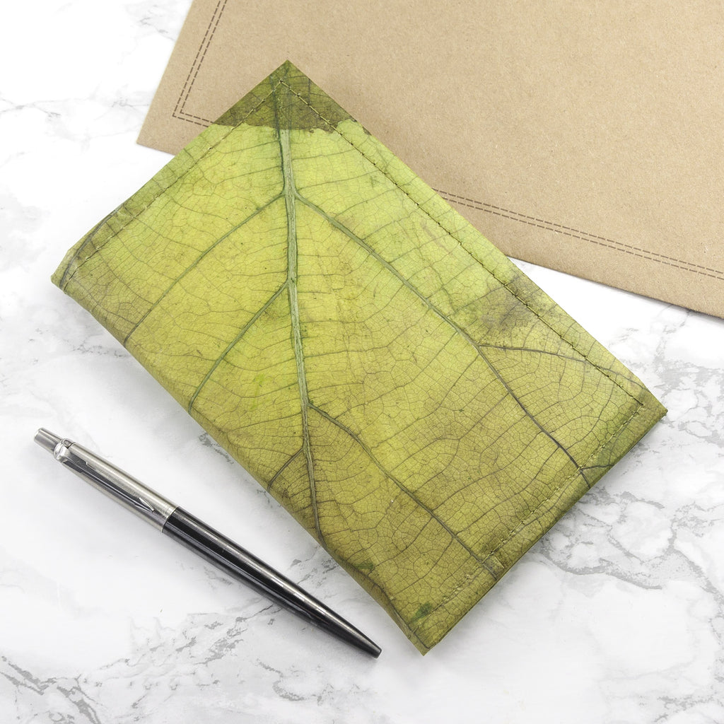 A6 Refillable Leaf Leather Journal - Leaf Green