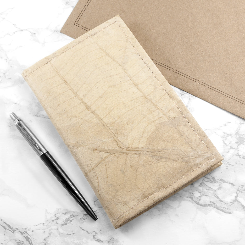 A6 Refillable Leaf Leather Journal - Natural