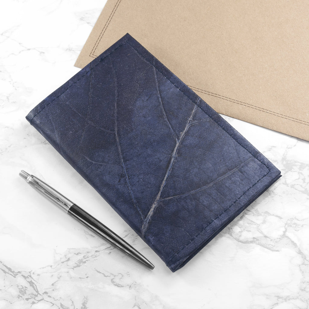 A6 Refillable Leaf Leather Journal - Midnight Blue