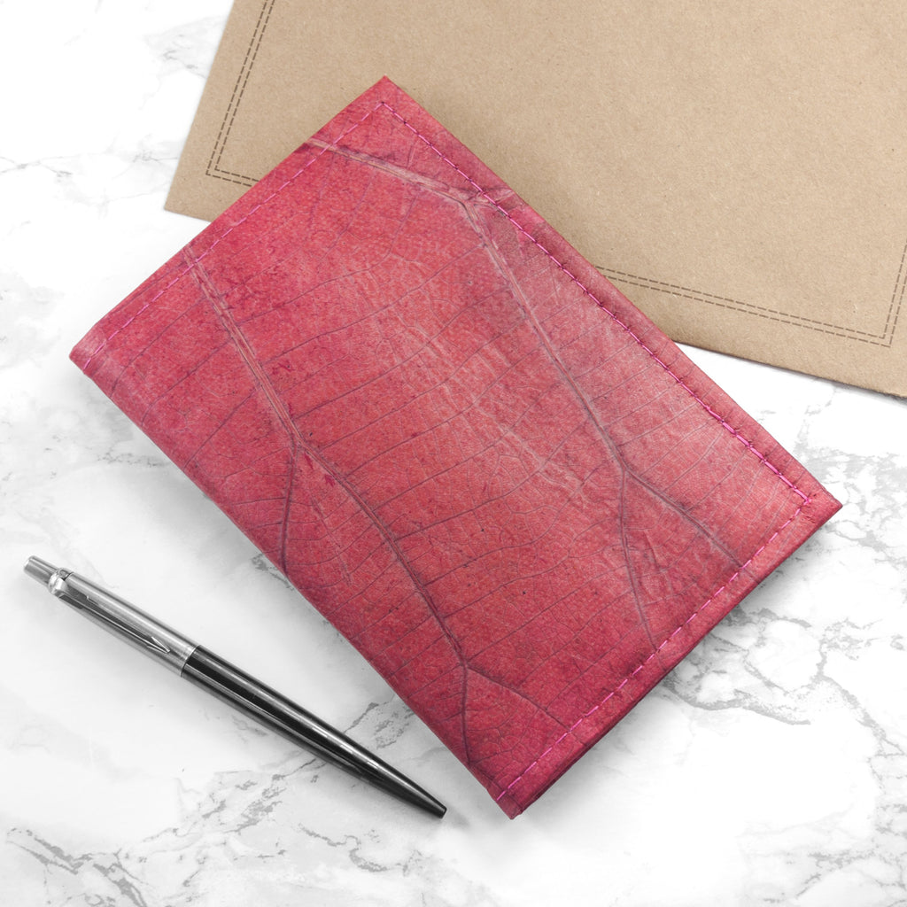 A6 Refillable Leaf Leather Journal - Pink Coral