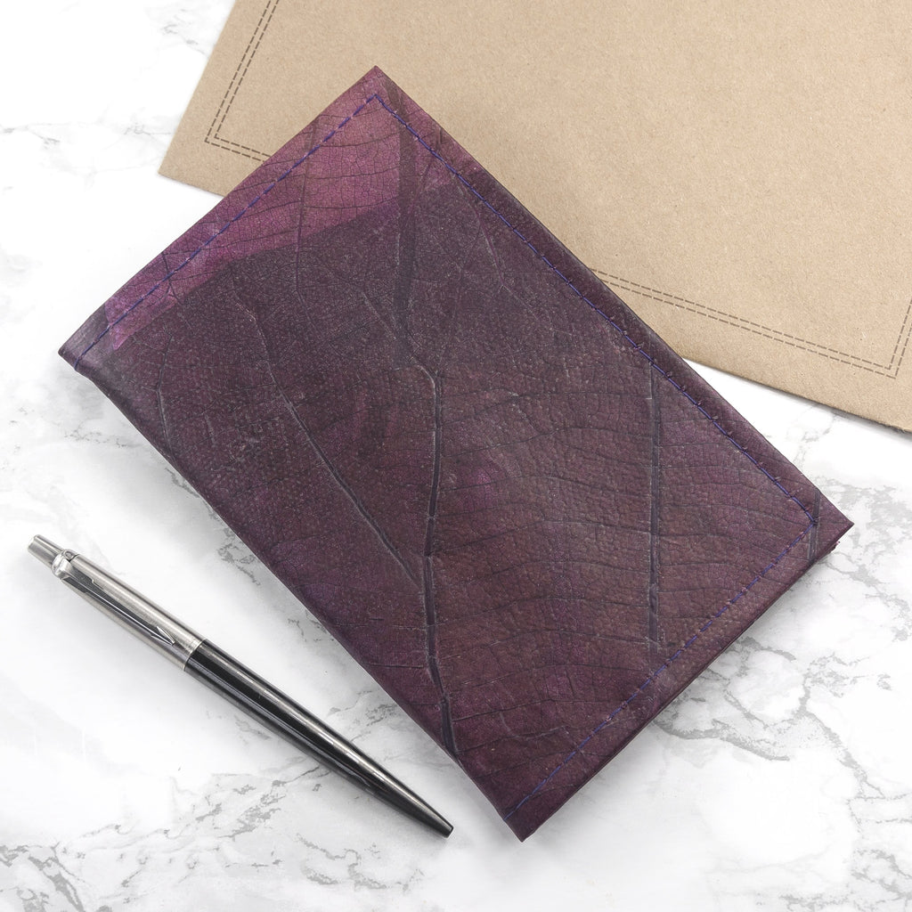 A6 Refillable Leaf Leather Journal - Dark Lavender