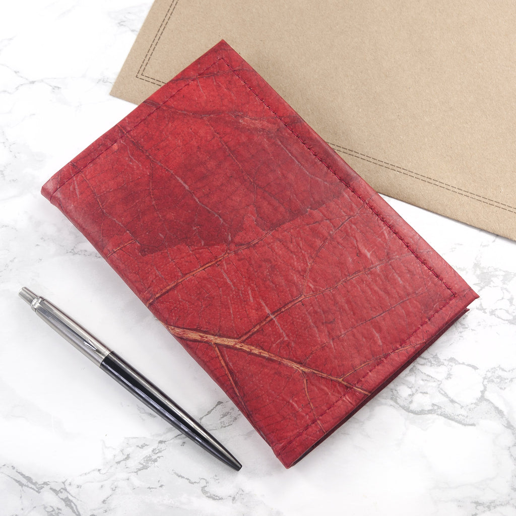 A6 Refillable Leaf Leather Journal - Berry Red