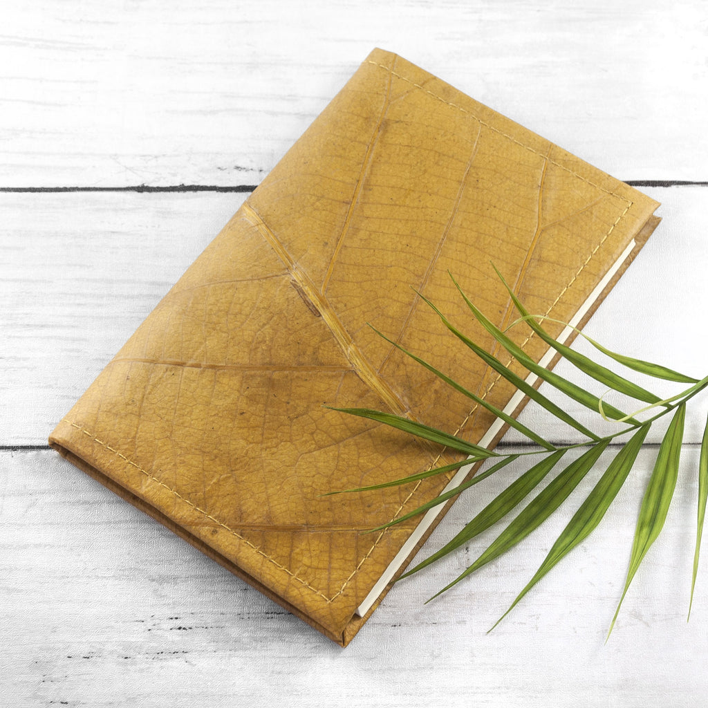 A6 Refillable Leaf Leather Journal - Tuscan Yellow