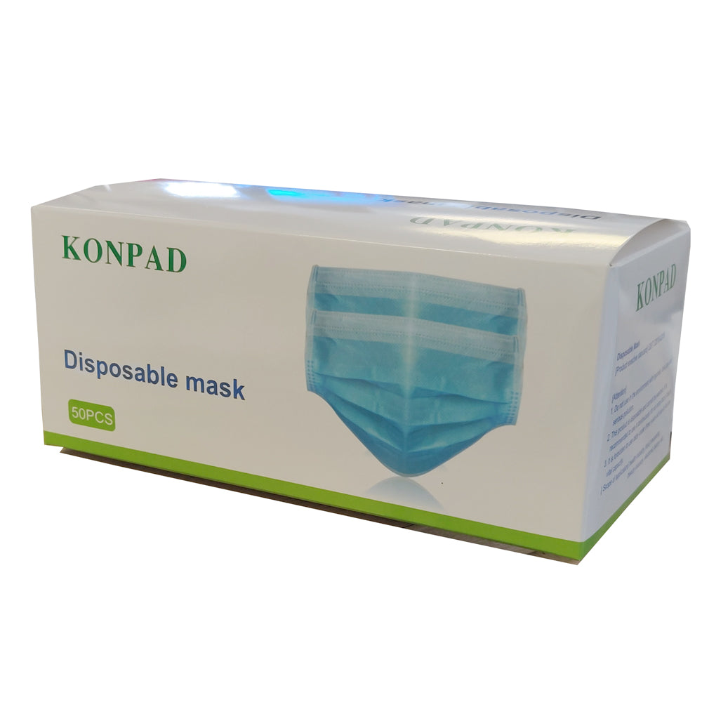 Disposable 3-Ply Surgical Masks - Box of 50