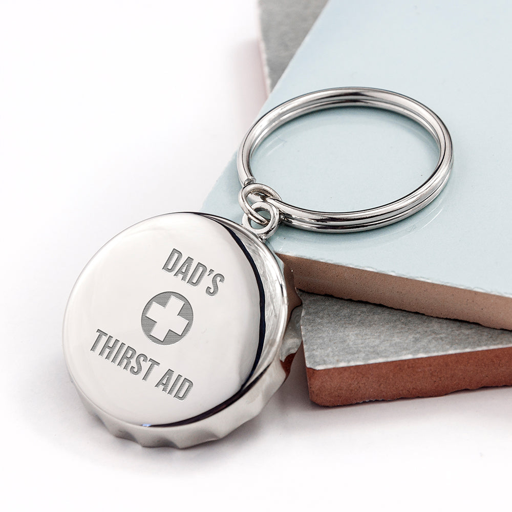 Personalised Thirst Aid Bottle Opener Keyring - treat-republic