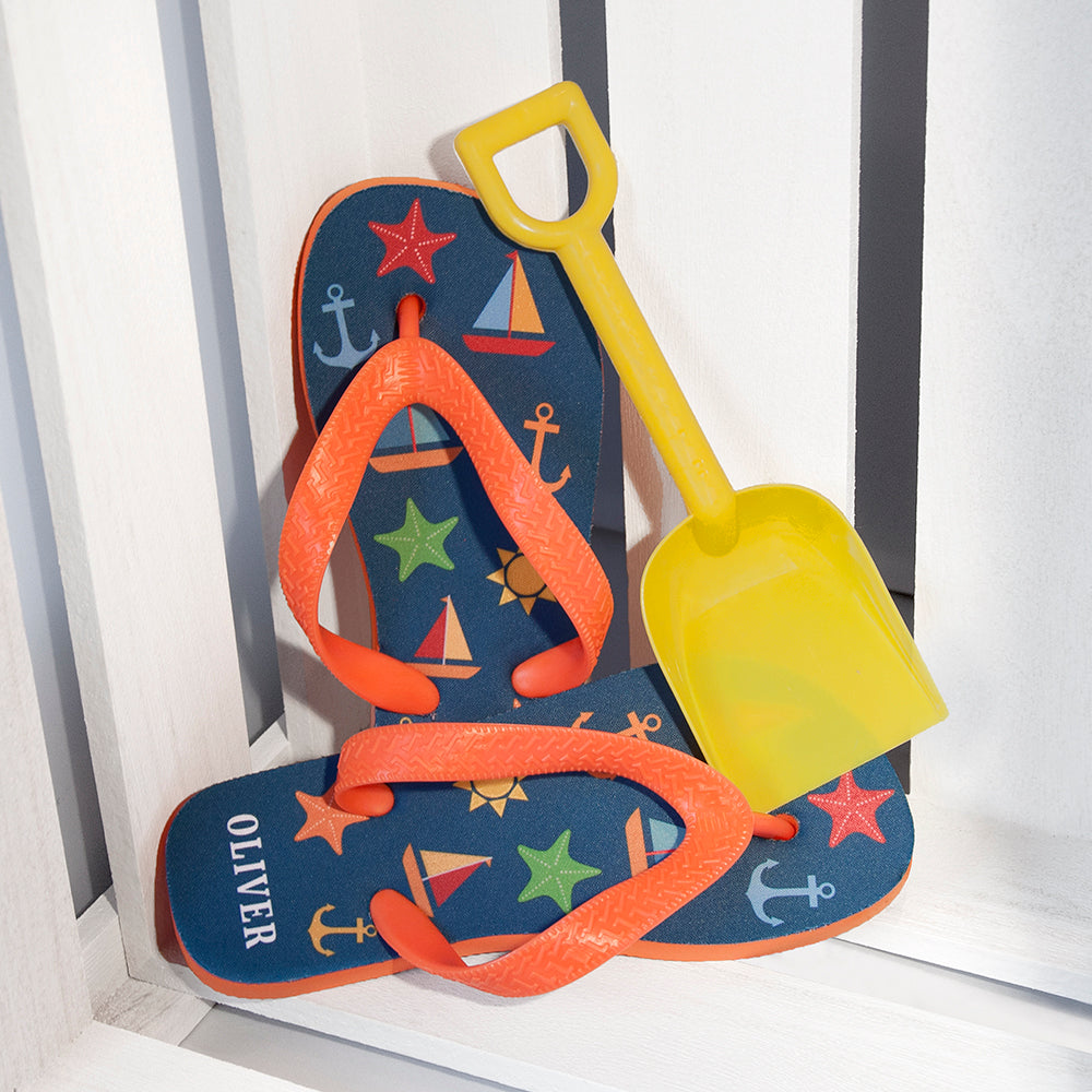 All The Fun At The Beach Child's Personalised Flip Flops In Navy - treat-republic