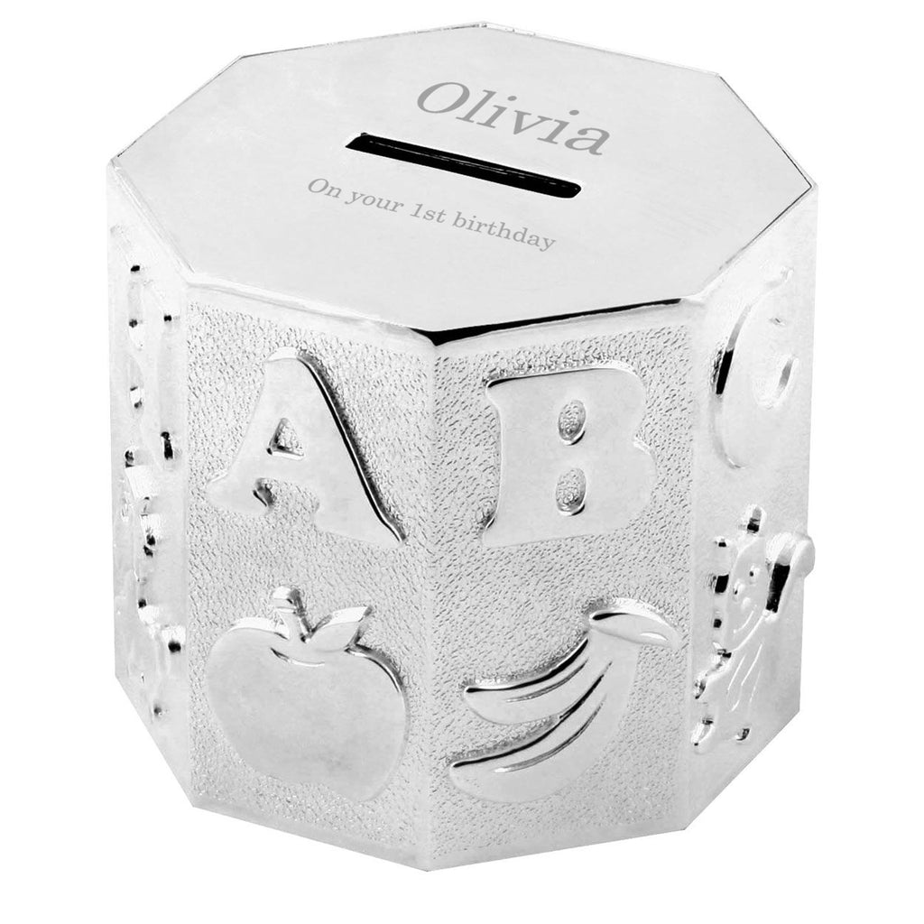 Personalised Silver Plated Alphabet Money Box - treat-republic