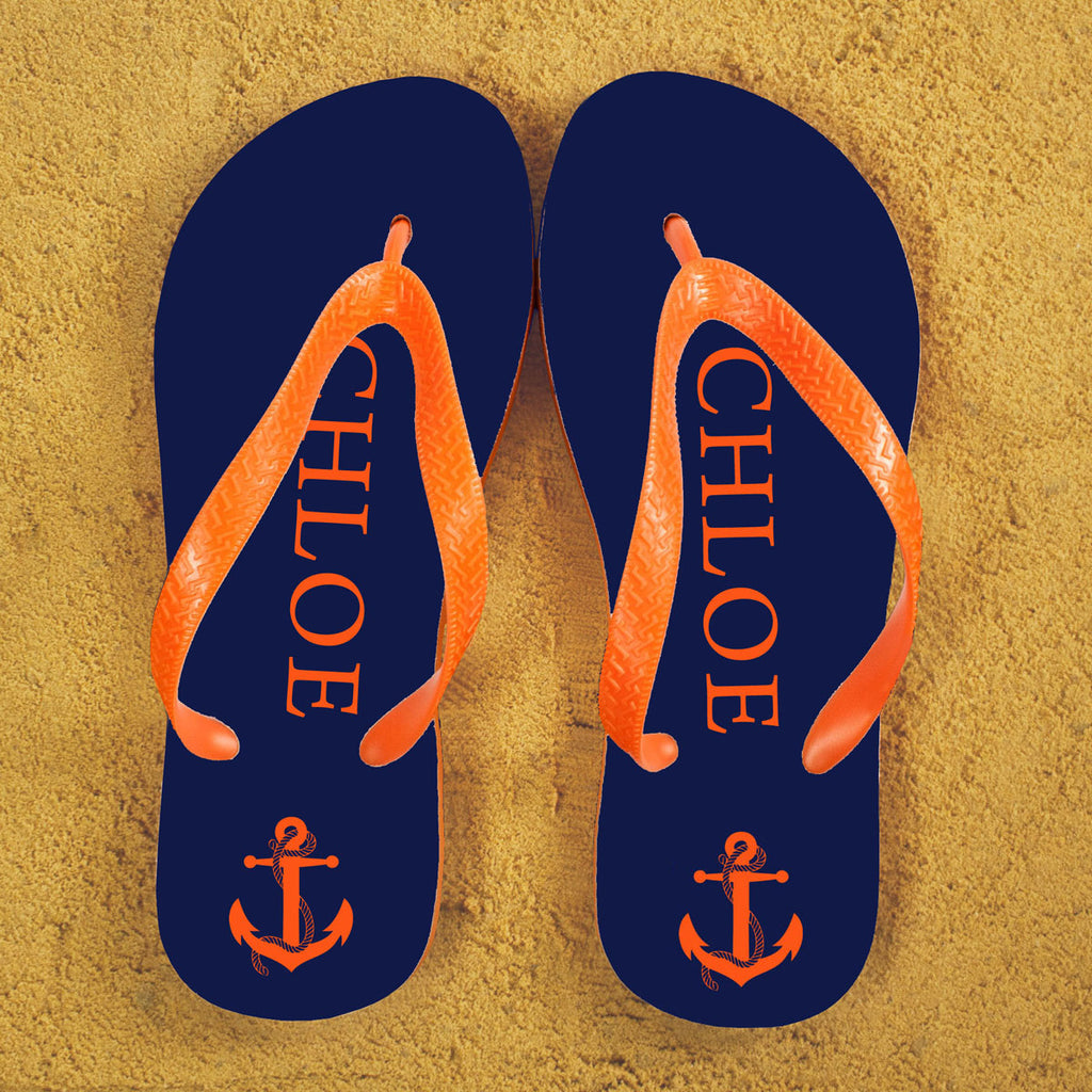 Anchor style Personalised Flip Flops in Blue and Orange - treat-republic