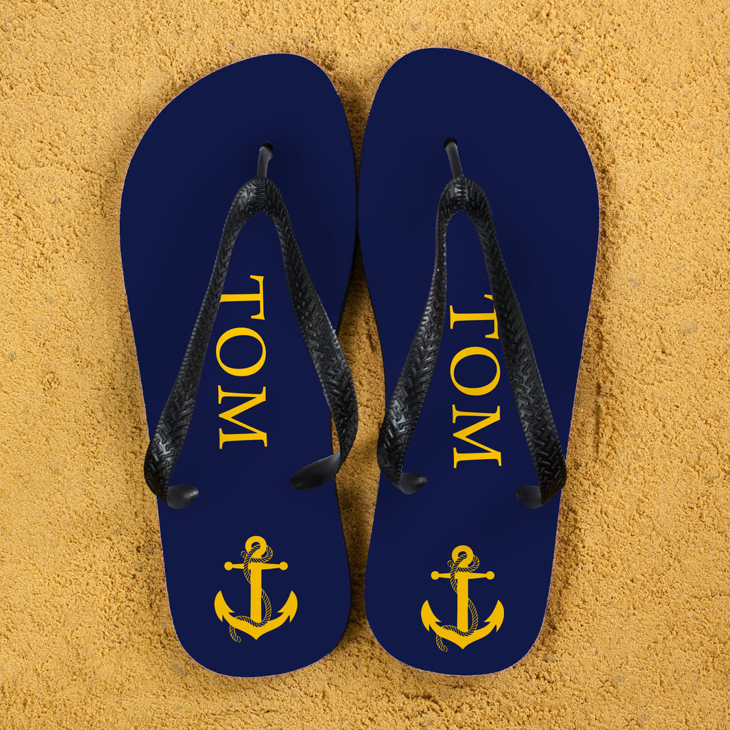 Anchor style Personalised Flip Flops in Blue and Yellow