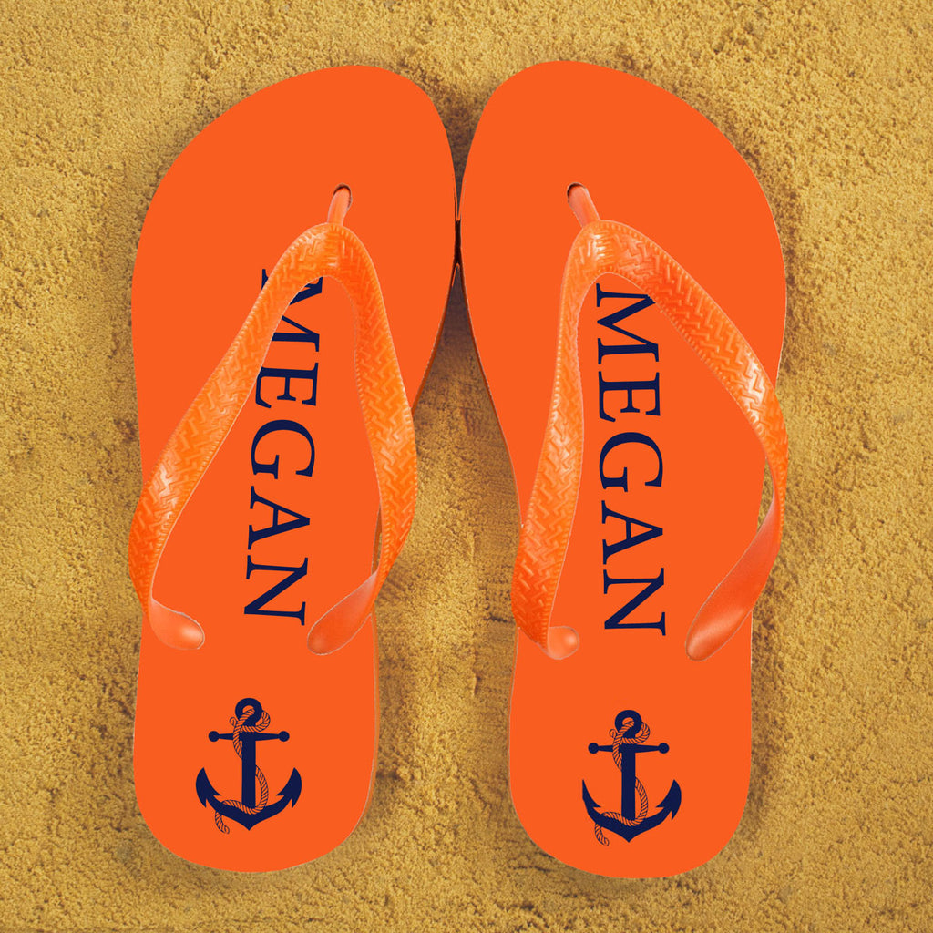 Anchor style Personalised Flip Flops in Orange and Blue - treat-republic