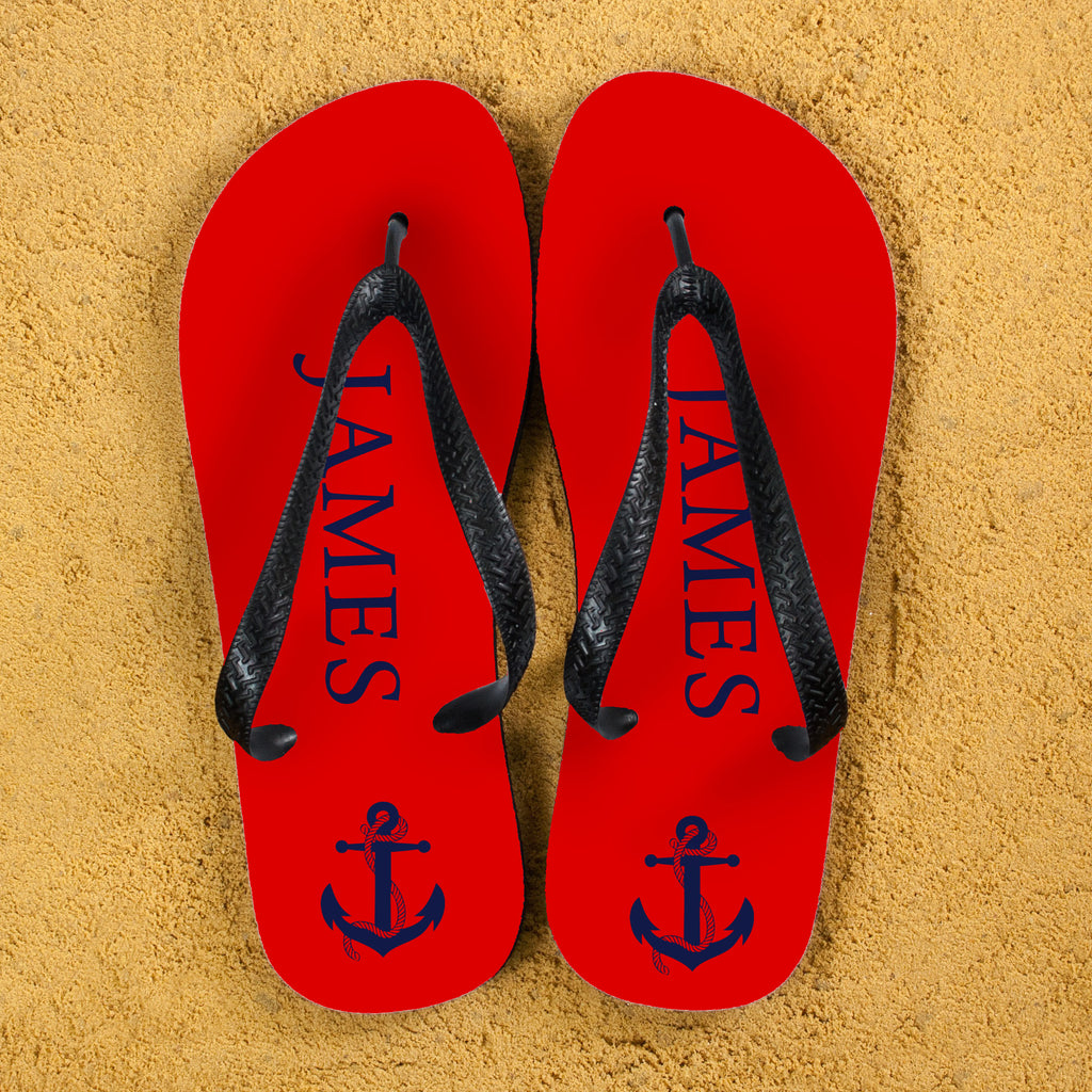 Anchor style Personalised Flip Flops in Red and Blue - treat-republic