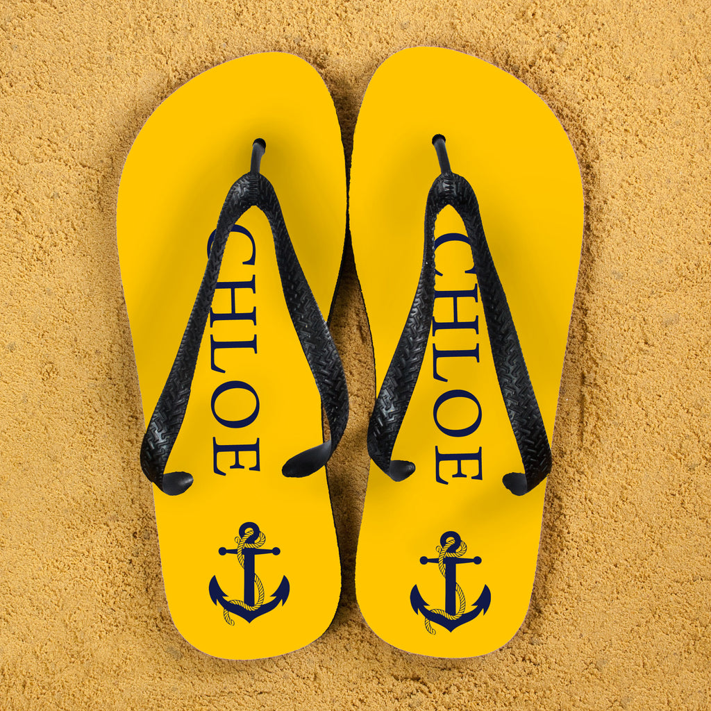 Anchor style Personalised Flip Flops in Yellow and Blue