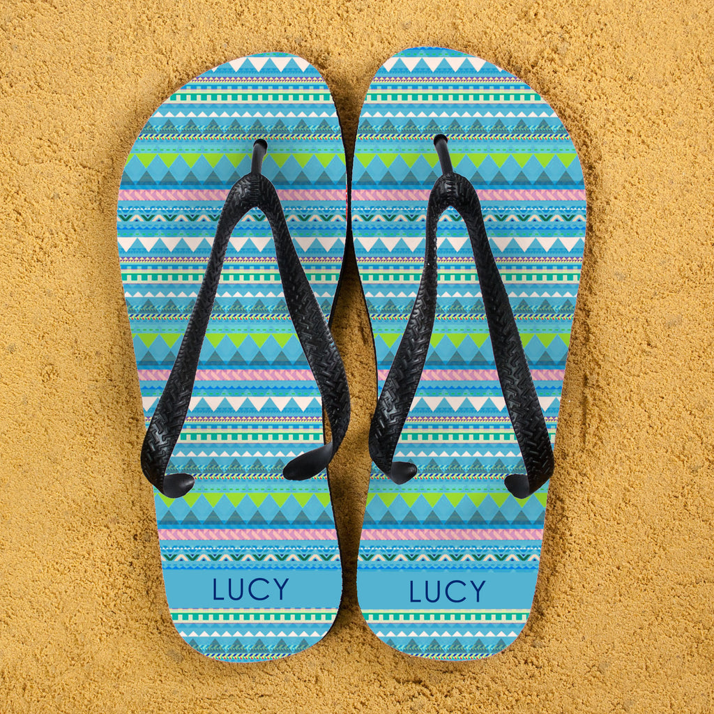 Aztec Style Personalised Flipflops in Blue