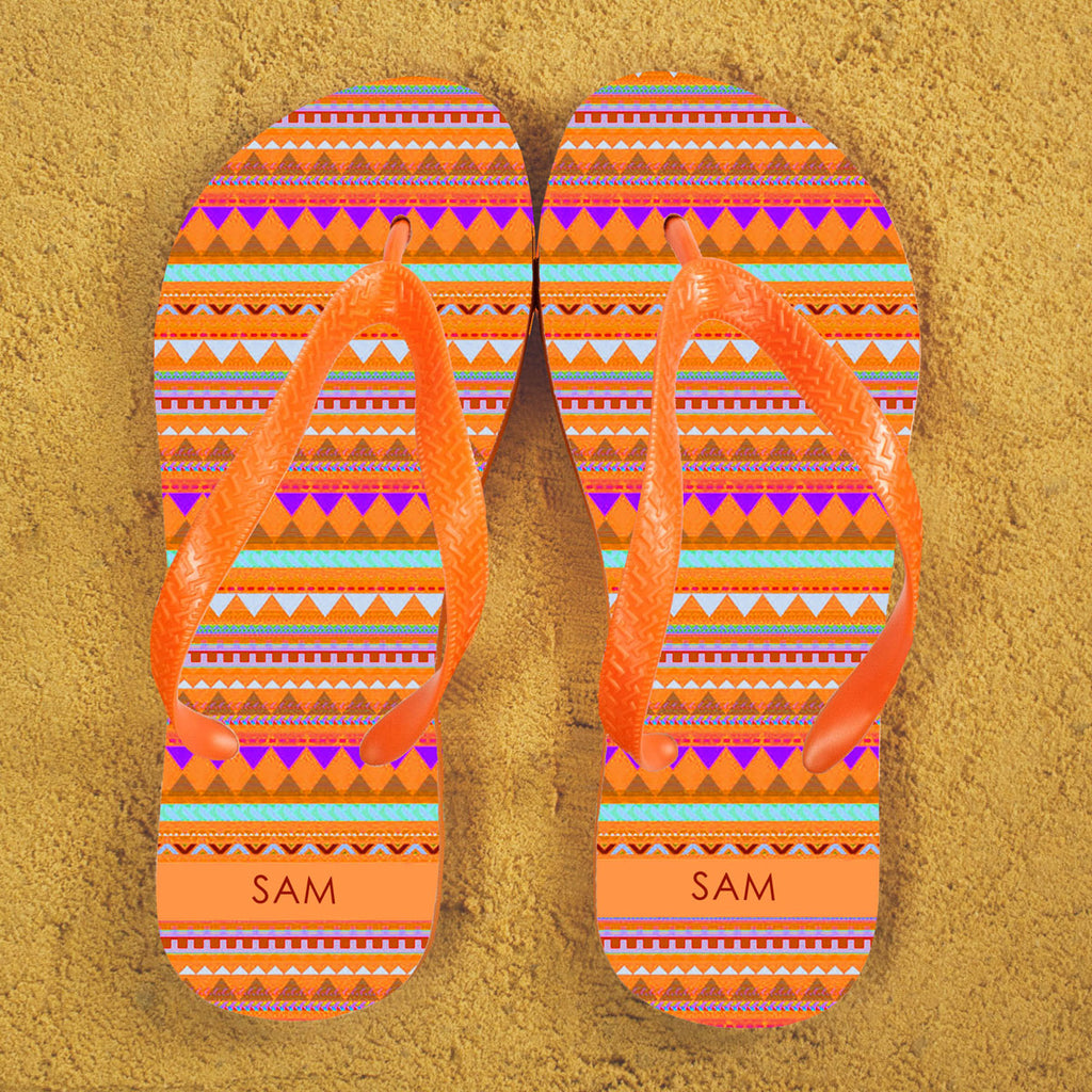 Aztec style Personalised Flipflops in Orange - treat-republic
